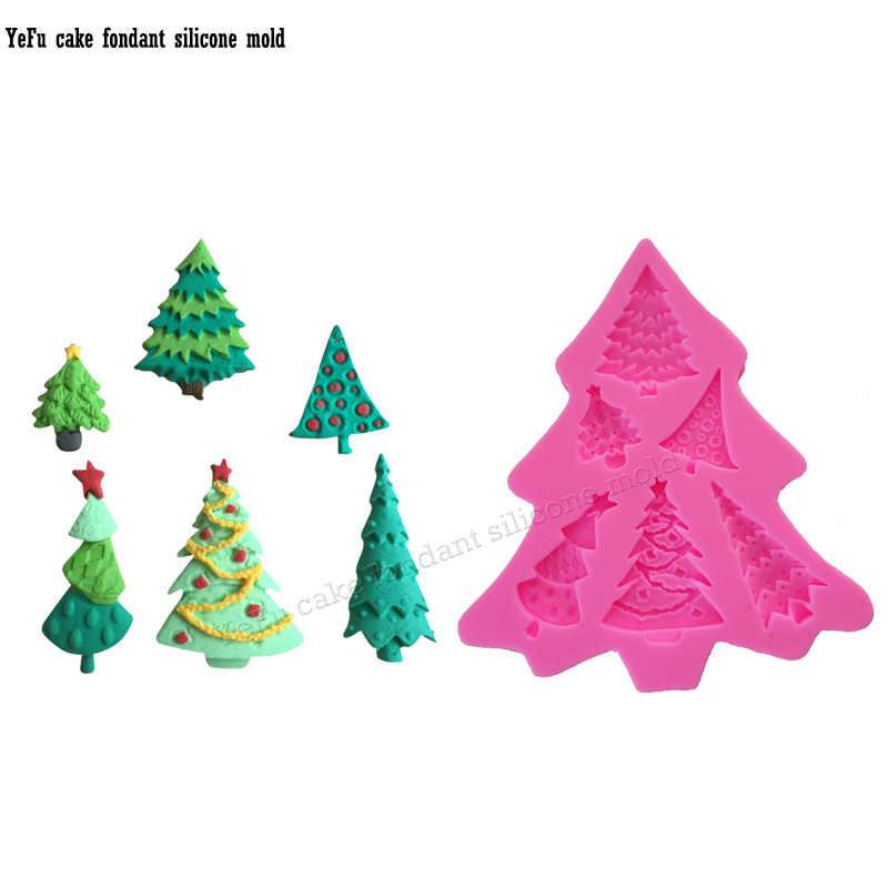 В форме рождественской елки 3D силиконовая форма для кексиков формы из полимерной глины шоколадные кондитерские конфеты делая инструменты для украшения F0871