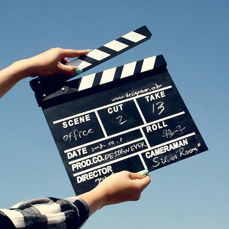 Bigger Size Film Director Clapper board Wooden Props DIY Materials ideo Clapper Board Scene Clapperboard TV Movie Film Cut Prop