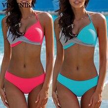 Купить с кэшбэком VINIKNIKA 2019 Push Up Swimsuit Sexy Bikinis Set Halter Top Bikini Women Chest Cross Swimwear Women Bathing Suit Biquini Bikinis
