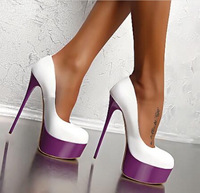 2018 Female Shoes Autumn Fish Mouth Pumps Platform Women Pump High Heels 16cm Shoes Pumps Sexy Shallow Solid Single Ladies Shoes