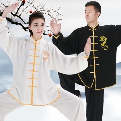 New Embroidery Dragon Chinese Kung Fu Uniform Women Wushu Martial Art Sets Men Long Sleeve Tai