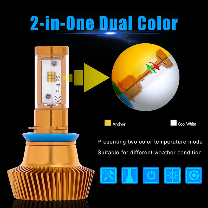 Auto Led Light Dual Color 9005/9012/H4/H7/H11 Car Driving Fog Lights 90w 9000lm Headlights 3000k 6000k Bulbs Automobiles Lamps