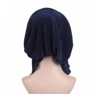 Image 4 - Muslims Women Ruffle Turban Hat Scarf Cotton Chemo Beanies Chemotherapy Bonnet Caps Bandana Headscarf Head Wrap Cancer Hair Loss