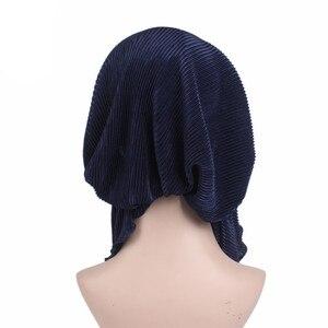 Image 4 - Muzułmanie kobiety wzburzyć Turban szalik bawełna Chemo czapki chemioterapia Bonnet czapki chustka na głowę chusta na głowę rak utrata włosów