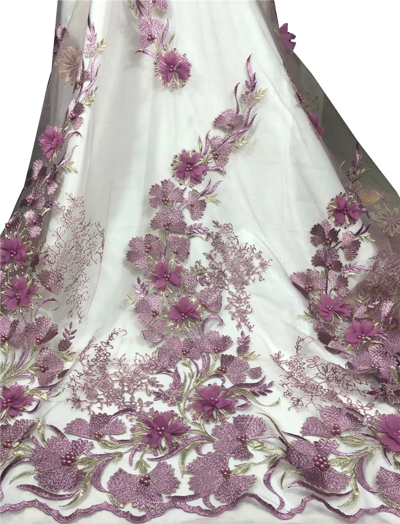 3D flowers African lace fabric beaded french lace fabric dubai appliques tulle lace bridal wedding party
