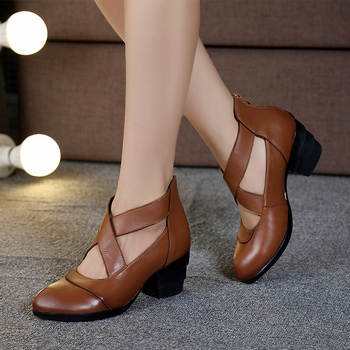 Nice Vintage Style Cross Straps Handmade Women Shoes Pumps Genuine Leather High Heels Pointed Toe Shoes