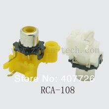 (4 ШТ./УПАК.) Высокое качество Белый 90 градусов RCA Женский Стерео аудио Разъем AV Аудио вход разъем один отверстие RCA-108K