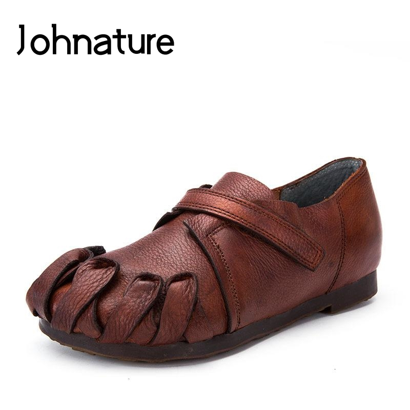 Johnature 2019 New Spring Autumn Genuine Leather Casual Round Toe Hook Loop Shallow Rivet Flat Platform
