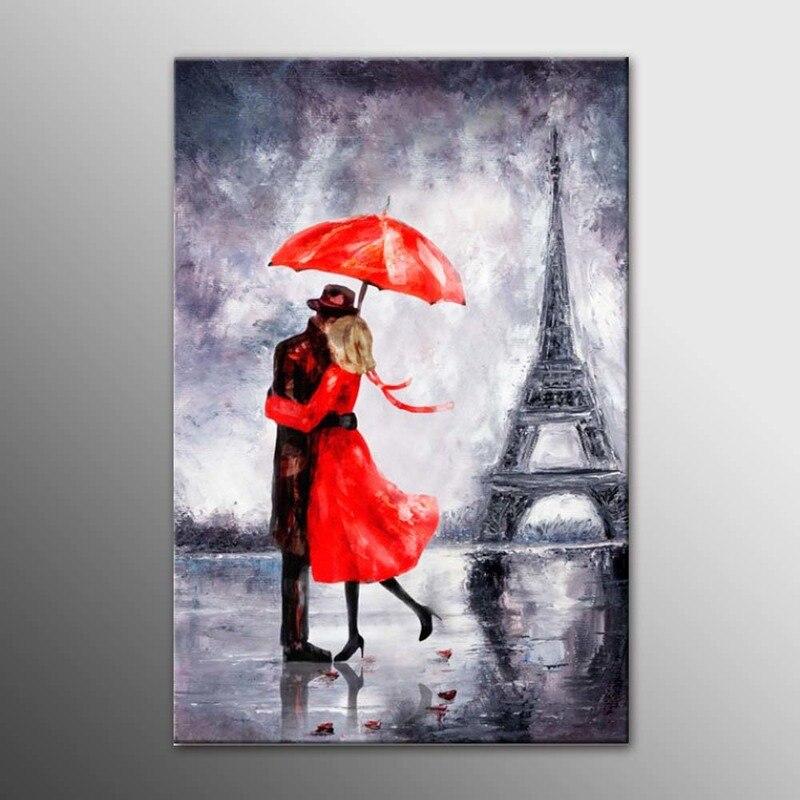 DIY рамка Холст Картина любовь в Париже танцы влюбленных в красный зонтик картина, напечатанная на холсте стены искусства домашнего декора ...