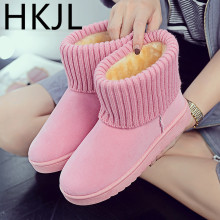 HKJL 2019 boots women winter wool mouth flat bottom female snow thickened plus velvet tube shoes Z022