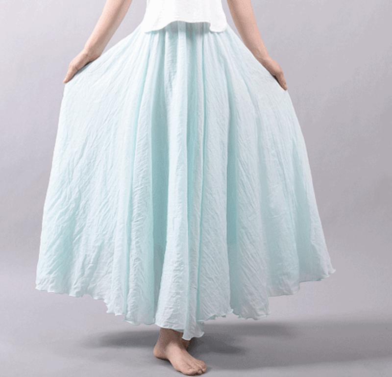 Ny mode kvinder Boho Vintage plisseret Maxi nederdel 2018 - Dametøj - Foto 5