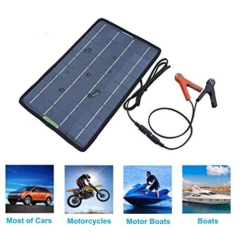 ECO-Worthy 18V 10W Portable Solar Panel Multi-Purpose Solor  Charger for 12V battery Cars Boat Motorcycle Solar Panel Charger