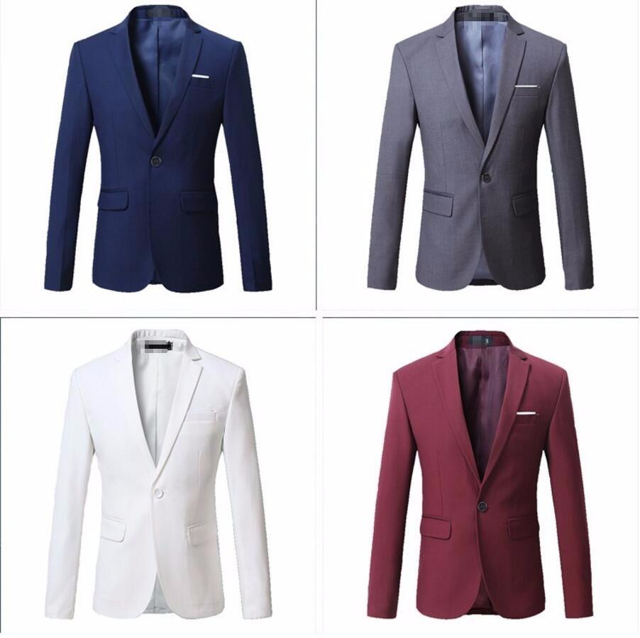 1.1 New Arrival Spring White Formal Dress Blazers Men Solid Slim Fit V-neck Mens Blazer Jacket Casual Social Business Suit Jacket
