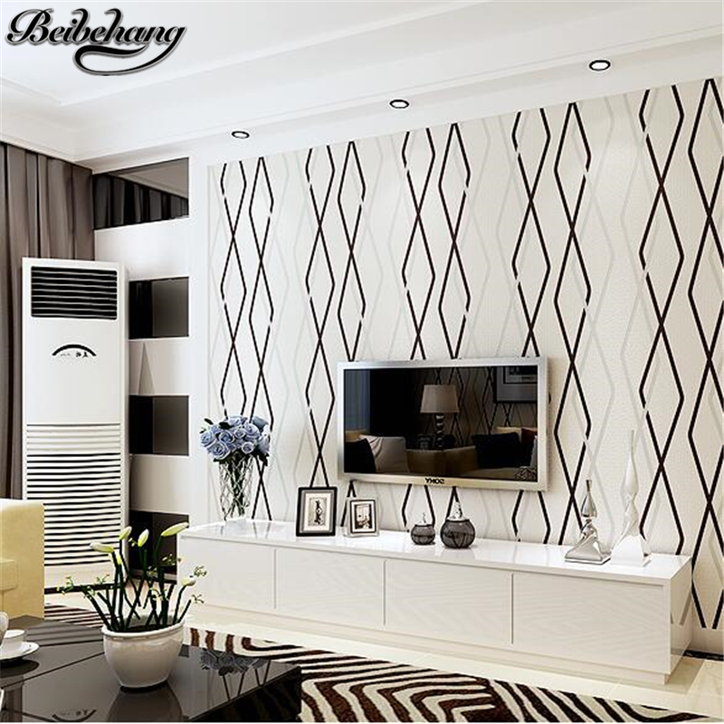 beibehang Wallpapers Living Room TV Background Wallpaper Bedroom Non - woven Stripes Modern Simple Film and Television wallpaper book knowledge power channel creative 3d large mural wallpaper 3d bedroom living room tv backdrop painting wallpaper