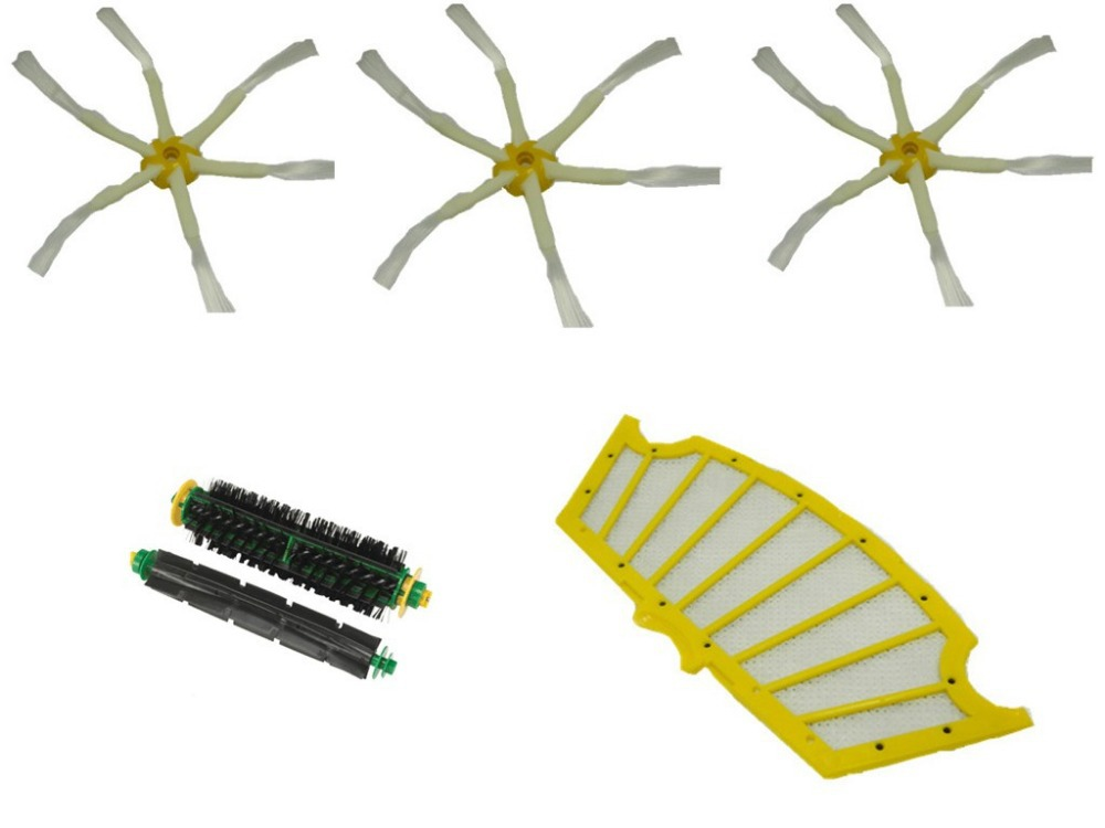 6 Arm Side brush+Bristle Brush + Flexible Beater Brush+ Filter for iRobot Roomba 500 520 530 540 550 560 3 arm side brush