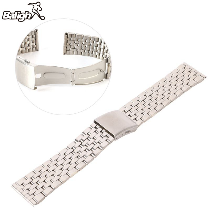 Newest Fashion Stainless Steel Metal Strap Silver Watch Band Unisex Bracelet Double Fold Deployment Clasp Watch Buckle 18-22mm