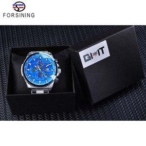Image 5 - Forsining Blau Ozean Design Silber Stahl 3 Zifferblatt Kalender Display Mens Automatische Mechanische Sport Handgelenk Uhren Top Marke Luxus