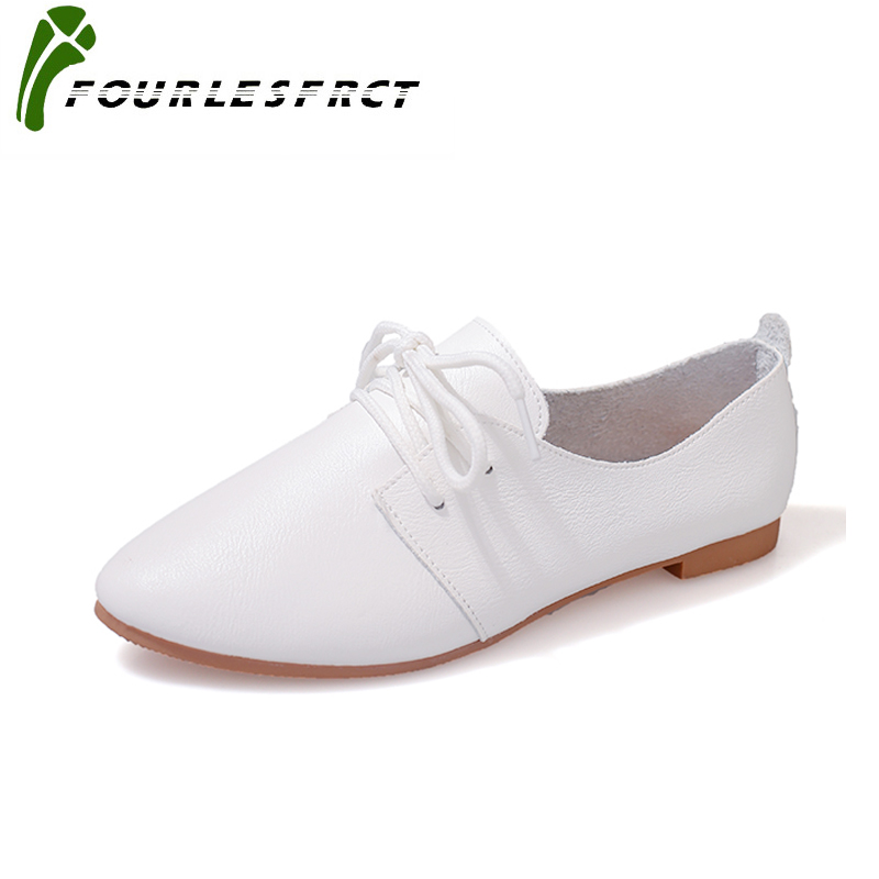 Spring Autumn new lace-up leather women flat white shoes pointed toe plus size soft bottom leisure flat colorful shoes woman new 2016 spring autumn summer fashion casual flat with shoes breathable pointed toe solid high quality shoes plus size 36 40