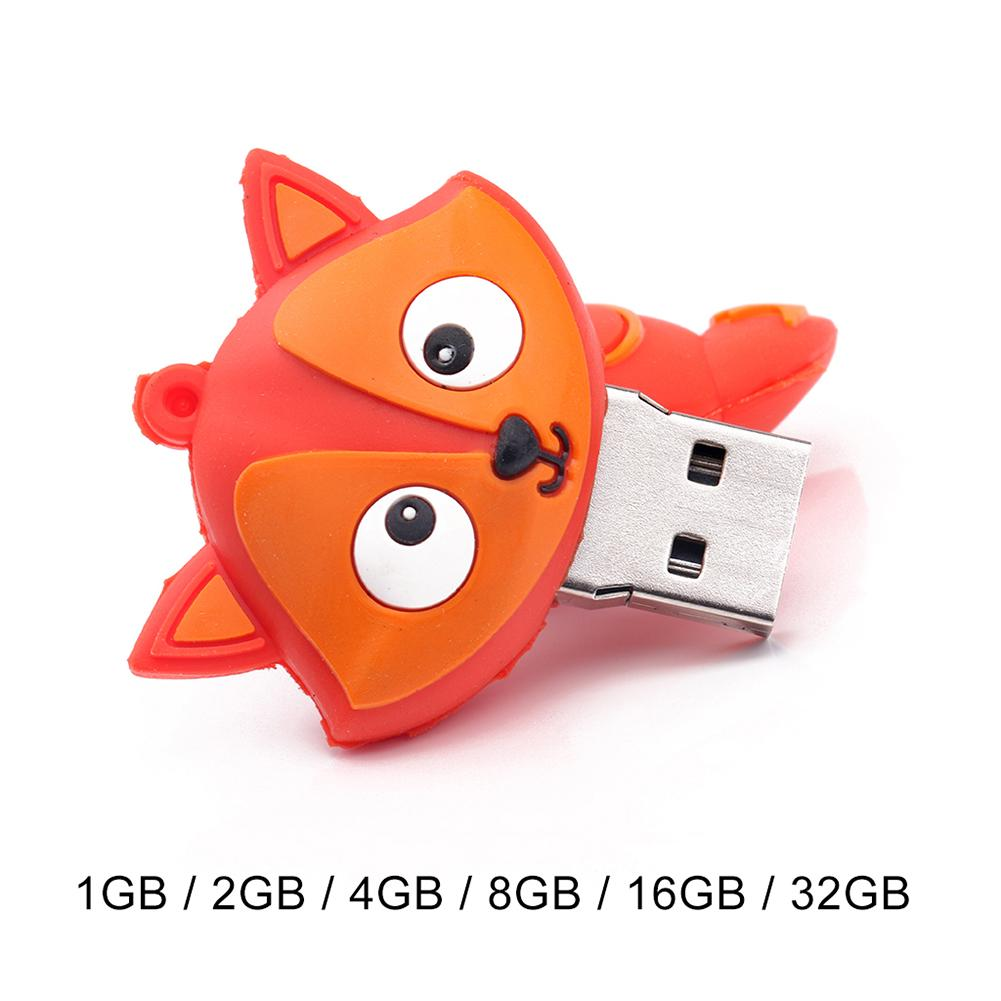 Analytical Hot 1/6/4/8/16/32gb Cute Pvc Cartoon Fox Usb Flash Drive Data Storage Stick U Disk