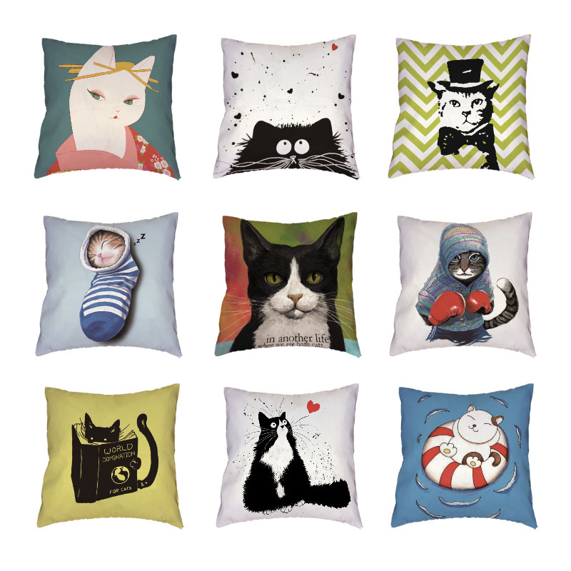 Hot Sale Boxing Cats White Throw Pillow Cases Geometric Patterns Printed Home Decor Cute ...