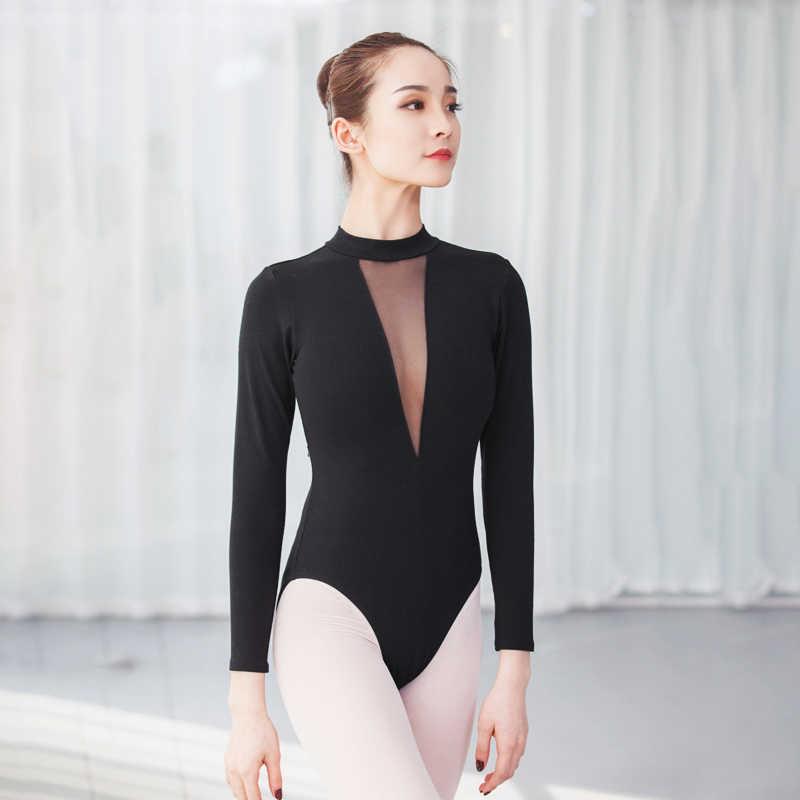364b8dcb230cd Гимнастический купальник с высокой горловиной для танцев Купальник Глубокий  V боди с длинным рукавом сетки балетные