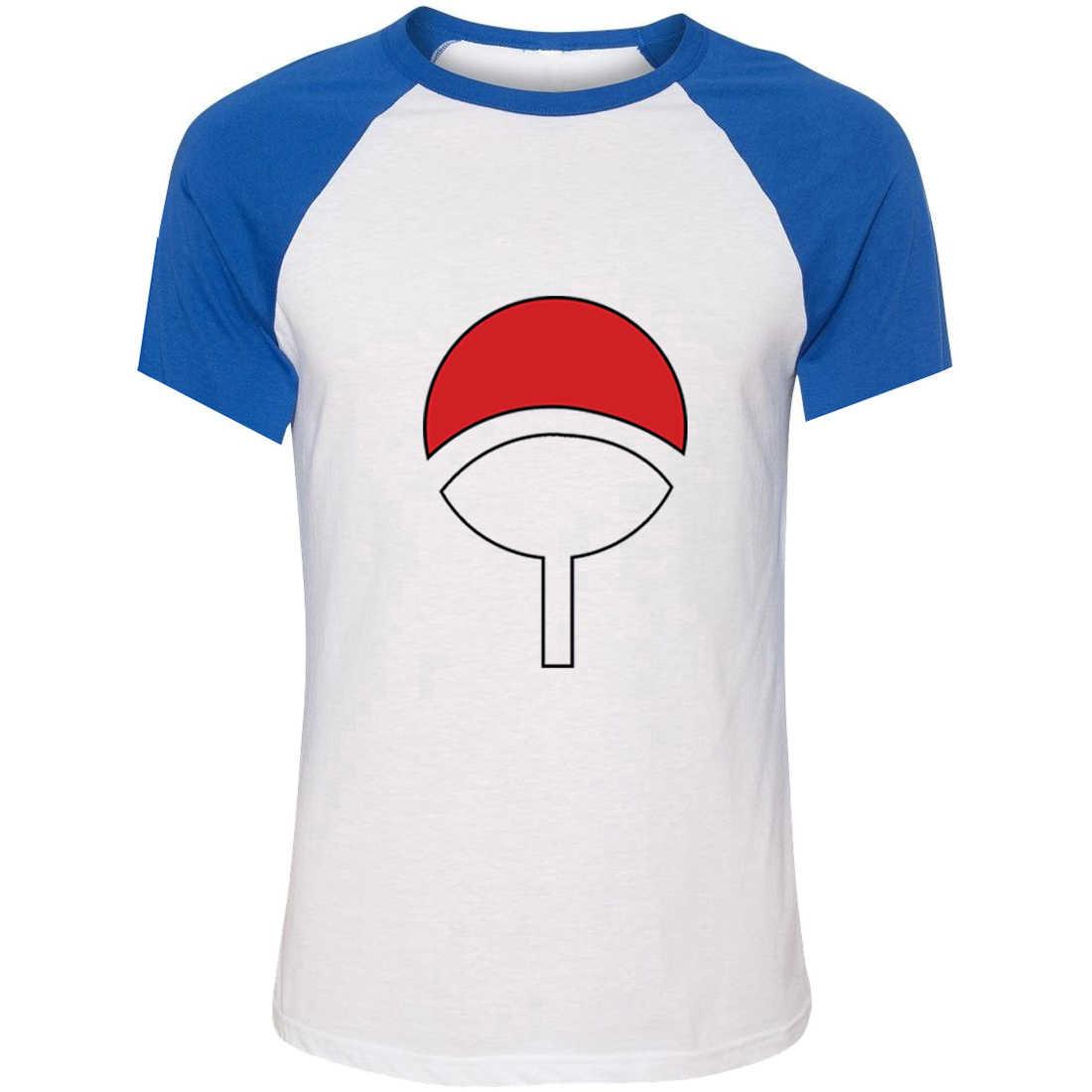 IDzn Unisex Estate T-Shirt NARUTO SHIPPUDEN Villaggio uchiha Simboli Arte Modello Raglan Manica Corta Da Uomo T shirt Tee Casual Tops