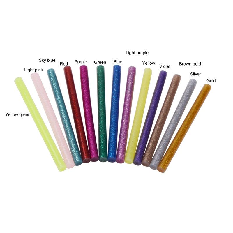 10pcs Hot Melt Glue Sticks 7mmx100mm Adhesive Assorted Glitter Glue Sticks Professional For 7mm Electric Glue Gun Craft Repair