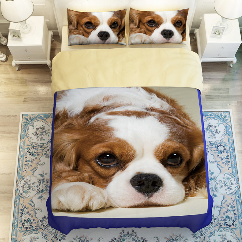 3D Oil Dogs Bedding Duvet Sets 3 4pc duvet cover without filler 100 Polyester Fashion Cute