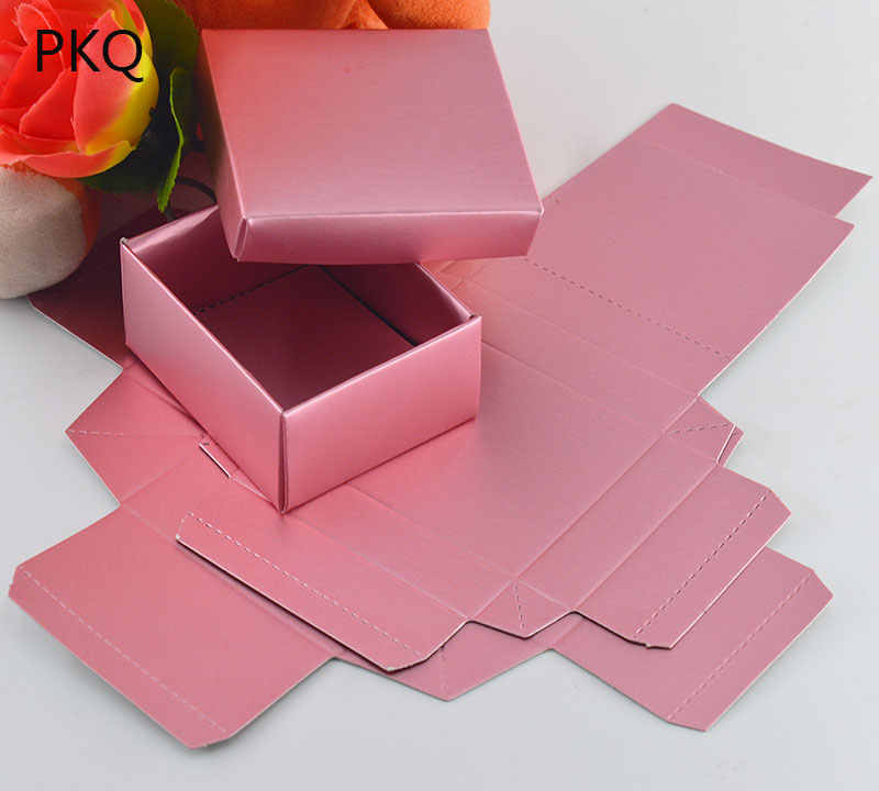 20PCS/LOT Rose Gold Color Gift Cardboard Box with lid, Small Wedding Candy/Chocolates Packing Boxes Jewel Box