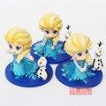 3 Set/Lot de Dibujos Animados Congelado Elsa Figuras de Acción 8 CM Q Veresion Lindo Modelos de PVC Colección Figuras de Anime Juguetes Calientes Embroma Los Regalos con caja