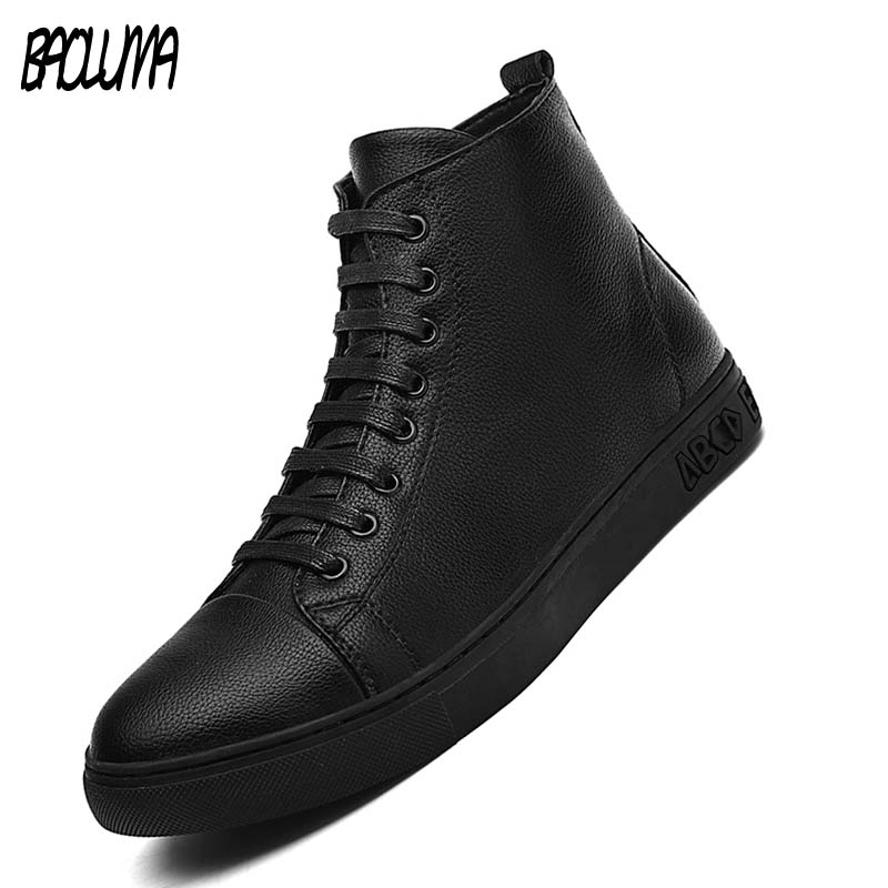 Autumn New Men Casual Shoes High Quality Leather Male Ankle Boots Hip-hop Men Moccasins Shoes Waterproof Man Motorcycle Boots