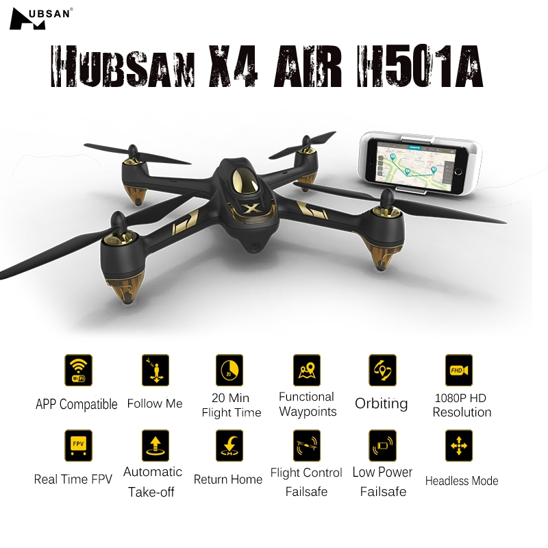 In Stock Hubsan X4 AIR H501A WIFI FPV Brushless Relay 1080P HD Camera GPS Waypoint RC Camera Drone Quadcopter RTF VS H501S H507A yizhan i8h 4axis professiona rc drone wifi fpv hd camera video remote control toys quadcopter helicopter aircraft plane toy