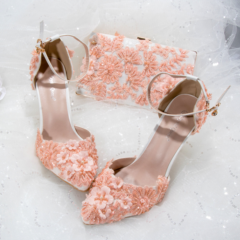 Women Shoes and Bag Set Pink Orange Appliques Pearls Flowers Lace Wedding Party Shoes Custom Colors