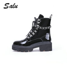 Salu 2018 new Women's Winter Boots Shoes Luxury Black Genuine Leather Snow Ankle Boots Buckle Decoration Brand Fashion Style