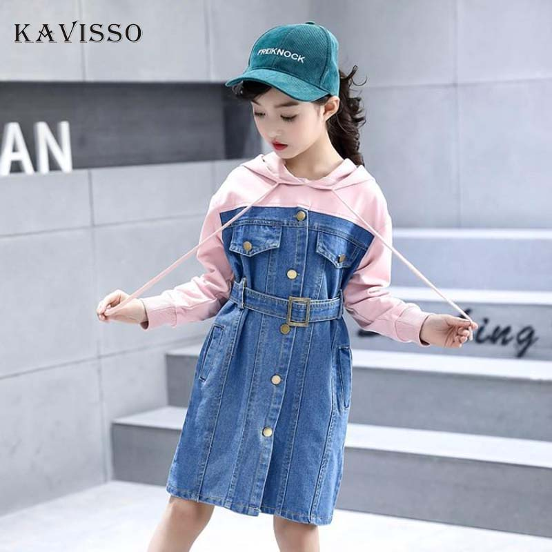 e89e2d83edf KAVISSO Autumn Fashion Denim Dress Girls 2018 Long Sleeve Cowboy Patchwork  Hoodies Dress Korean Girls Clothes Jurkjes Meisjes ...