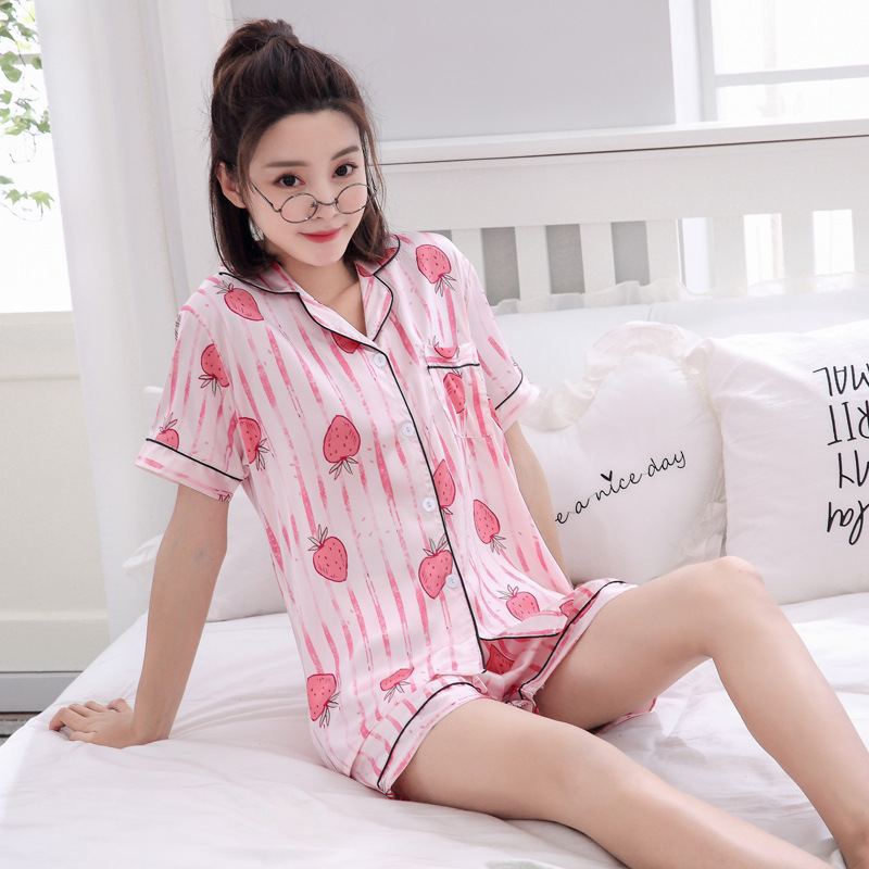 High Quality 2019 Short Sleeve Pajamas Silk Set Set Women Sleepwear Sexy Nightwear for Women Sleepwear Short Pant(China)