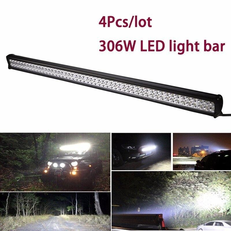 306 W LED Light Bar 60 Degrés D'inondation Lumière Pour Jeep SUV ATV CAMION Hors Route Feux De Voiture LED Lampe de Travail Bar Étanche Avec support