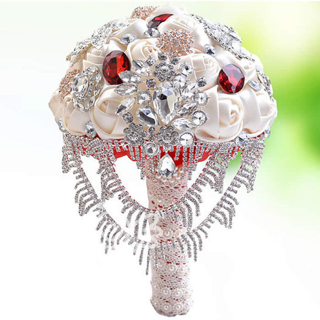 5colors High Quality Rhinestone Pearl Wedding Flowers Bridal Bouquets wedding bouquet Drop FW156