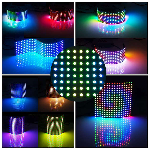 US $7 66 40% OFF|WS2812B 16x16 Pixel Led Module Panel 8x8/8x32/20x50 Pixels  Screen Matrix Neopixel WS2812 IC Chip Individually Addressable DC5V-in LED