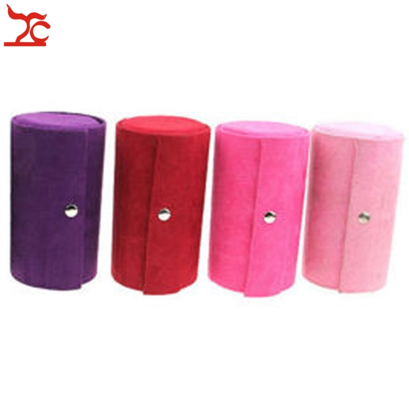 New Fashion Jewelry Display Casket 4 Color Flannel Round Ring Earring Necklace Storage Organizer Display Travel Gift Case