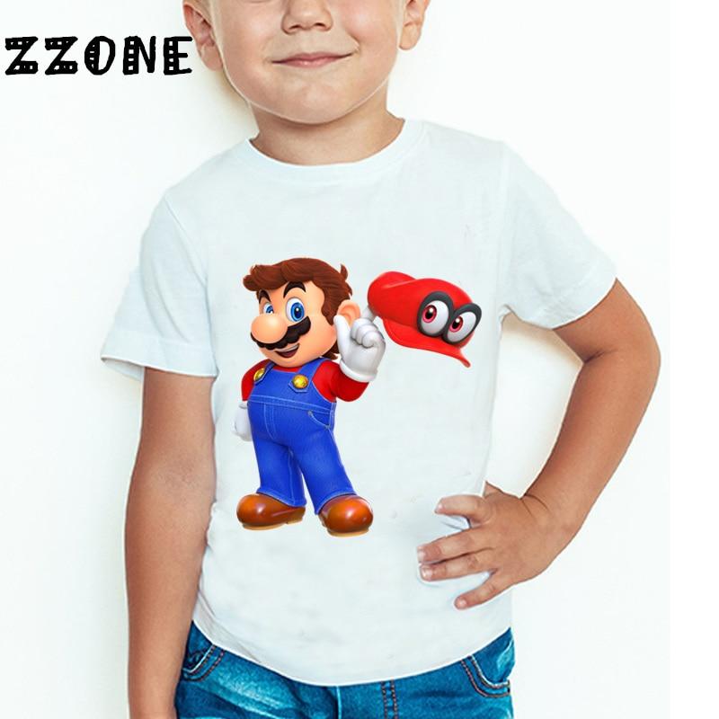 Uşaqlar və Qızlar Super Mario Bros Oyunu Cizgi filmi Moda T-shirt - Uşaq geyimləri - Fotoqrafiya 3