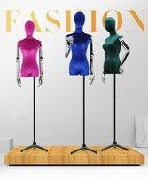 1pcs Dress shop female model window display false props color velvet dummy body electroplated gold slivery arm Lady mannequins