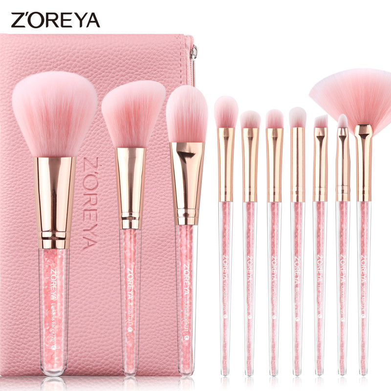 ZOREYA Brand Brushes For Makeup 10pcs Make Up Brushes With Diamond Handle And Pink Cosmetic Bag