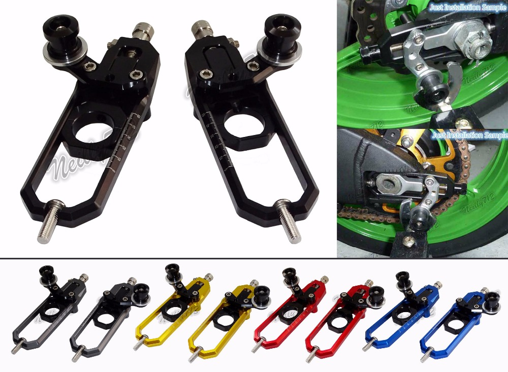 Motorcycle Chain Adjusters with Spool Tensioners Catena For Suzuki GSXR1000 2009 2010 2011 2012 2013 2014 2015 2016 cnc aluminum chain adjusters with spool tensioners catena for kawasaki zx 6r zx6r zx 6r 2009 2010 2011 2012 2013 2014 2015