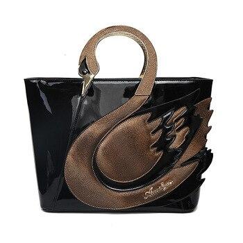 2018 New Style Swan Women Patent Leather Handbags Large Capacity Shopping Bag Fashion Totes Shoulder Bag Bolsa Feminina