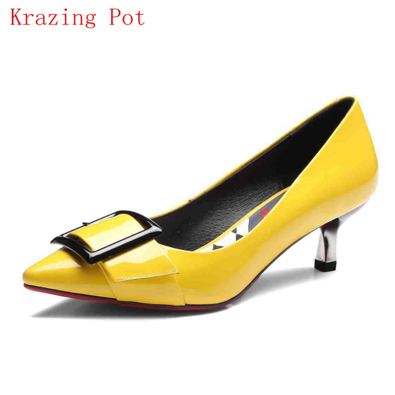 2018 Fashion Brand High Heels Genuine Leather Pointed Toe Buckle Casual Slip on Solid Women Pumps Spring Office Lady Shoes L52 цена 2017