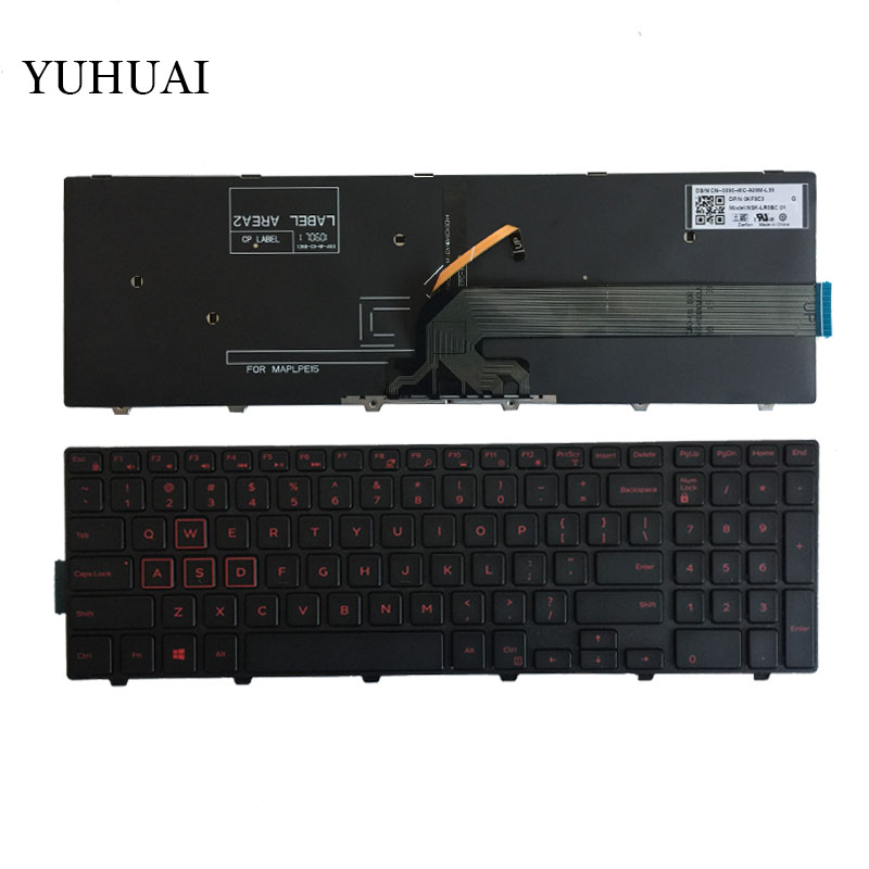US keyboard For Dell Inspiron 15-5577 5576 5749 7557 7559 3541 3542 3543 5542 5545 Laptop English Keyboard With Backlit/frame laptop keyboard for sony vpcz2 black without frame with backlit us english version