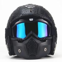 PU Leather Helmet 3/4 Motorcycle Chopper Bicycle Helmet Exposed Vintage Motorcycle Helmet and Goggles Mask