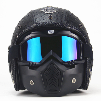 PU skórzany kask 3 4 motor chopper kask rowerowy odsłonięty Vintage kask motocyklowy i maska gogle tanie i dobre opinie Motocykle elektryczne SGASEF