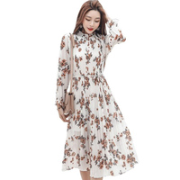 Spring Lady Long Chiffon Dress 2019 New Korean Fashion Women Long Sleeved Floral Print Ruffle Pleated Dresses Vintage Clothes